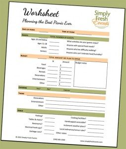 Picnic Planning Worksheet