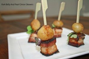 Pork Belly and Pearl Onion Skewers