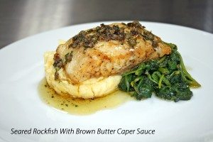 Rockfish With Brown Butter Caper Sauce