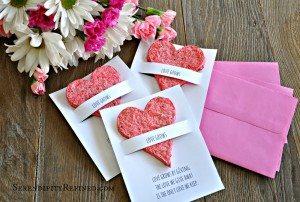 Home made paper Valentine shower favor wedding favor paper heart seed flower diy tutorial