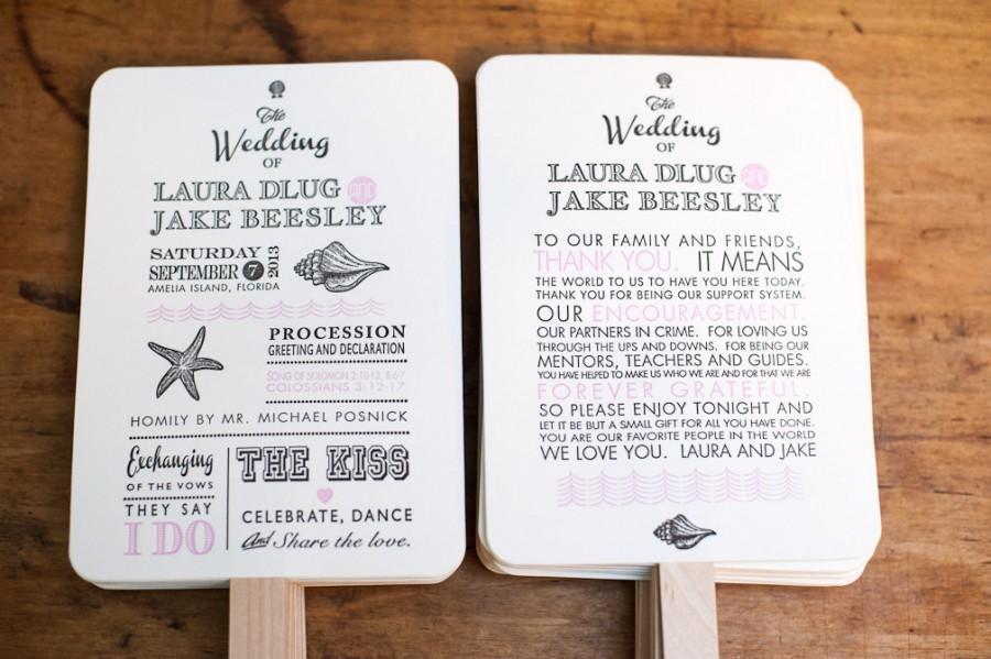 Beach Wedding Program Fans Destination Fan