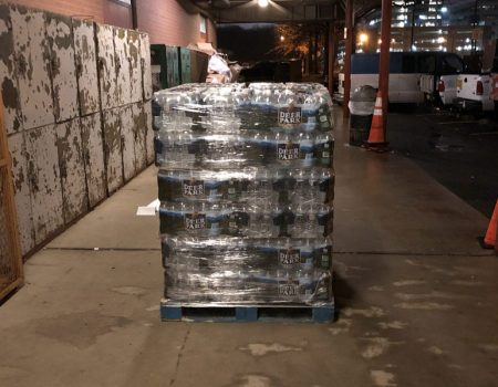 pallet of water bottles