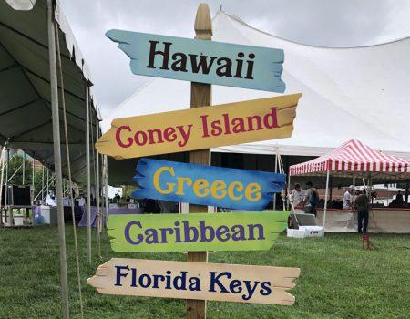 signs at a company picnic